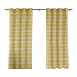 "Best Home Fashion - Doodle Room Darkening Grommet Top Curtain 84""L - 1 Pair, Sunshine - These fun doodle print curtains add an interesting touch to your home decor."