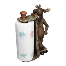 Rivers Edge Products - River's Edge Products Moose Paper Towel Holder - Bring humor and fun to your kitchen counter with this cutesy moose paper towel holder. This resin accessory holds a full roll of paper towels and features a moose wearing a comical expression and propping up along the side of the piece.