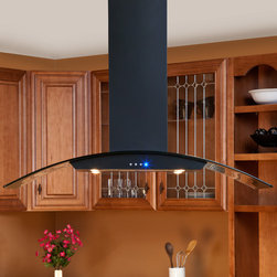 "Casa Series 48"" Black Island Range Hood - 600 CFM - Size and style, the Casa Series 48"" Black Powder Coat Island Range Hood has it all. It features four halogen lights, a three-speed blower and a telescoping flue to accommodate most ceiling heights."
