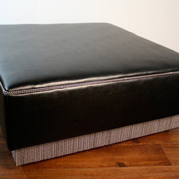 """Bead chain ottoman - Faux leather upholstered ottoman with nickle plated bead chain around the bottom edge, can be made in any color or fabric, custom sizes available. Shown  36"""" x 36"""" x 17H"""