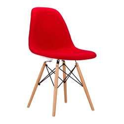 Mid-Century Fabric Slope Chair in Crimson - Our Mid-Century Slope Chair is an ingenious design inspired by an iconic manufacturing process of the 1950s and 1960s. The original was born out of technological advancements that allowed a chair to be constructed out of a single mold of fiberglass. With the original mold no longer in production, today's designers have improved this process even further, resulting in a comfortable, stylish, lightweight chair. Replacing fiberglass with more eco-friendly polypropylene, the current iteration takes this incredible design and makes it accessible and modern, featuring a smooth polypropylene seat with cashmere blend fabric that contours to your body. This chair is also one of our most versatile pieces, fitting in at the dinner table, conference table, or anywhere else you're looking to add some seating.