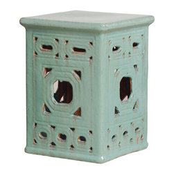 Kathy Kuo Home - Square Lattice Pierced Garden Seat Stool- Light Turquoise Blue Glaze - Traditionally used in China as tea tables- these garden stools make a perfect addition to your living space as side tables, or clustered together to be used as a coffee table.  Glazes are triple fired for added luster and shine.  With a hand made product, glaze variations of up to 10% is to be expected.