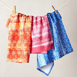 Anthropologie - Minola Dish Towels, Set of 3 - Dress up the kitchen with pretty patterns and pops of bright color with these Minola dish towels.