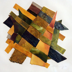 Seasoned Chakra (Original) by Christina Massey - Part of a series of hand woven works created from using scraps of the artists own past artworks.  Each is titled after an emotion or feeling that particular color can embody.