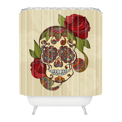 DENY Designs - Valentina Ramos Sugar Skull Shower Curtain - Who says bathrooms can't be fun? To get the most bang for your buck, start with an artistic, inventive shower curtain. We've got endless options that will really make your bathroom pop. Heck, your guests may start spending a little extra time in there because of it!