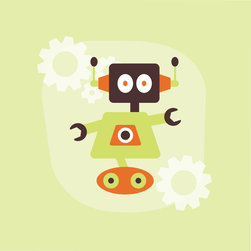 Homeworks Etc - Homeworks Etc Lime Green Robot Canvas Wall Art, orange - Cute Robot Room Dcor for a boys room.  Great for a baby shower or birthday gift.  It's light weight design is easy to hang.  Measures 10 x 10 x 1.5 inches.  Perfect for use in  a children's bedroom.