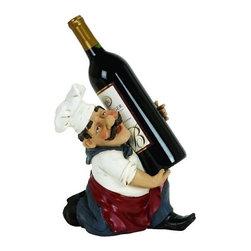 """Benzara - Chef Figurine Wine Bottle Holder - Chef Figurine Wine Bottle Holder 10"""" x 9"""""""