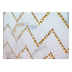 Mission Stone Tile - Chevron Mosaics - Polished Stone and Glass Mix, Calacatta and Gold Glass - Sold by the Square Foot