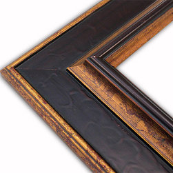 The Frame Guys - Flat Mahogany with Gold Raised Lip Picture Frame-Solid Wood-10x13 - *Flat Mahogany with Gold Raised Lip Picture Frame-Solid Wood-10x13