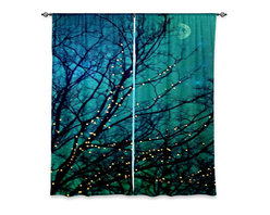 """DiaNoche Designs - Window Curtains Lined by Sylvia Cook Magical Night - DiaNoche Designs works with artists from around the world to print their stunning works to many unique home decor items.  Purchasing window curtains just got easier and better! Create a designer look to any of your living spaces with our decorative and unique """"Lined Window Curtains."""" Perfect for the living room, dining room or bedroom, these artistic curtains are an easy and inexpensive way to add color and style when decorating your home.  This is a woven poly material that filters outside light and creates a privacy barrier.  Each package includes two easy-to-hang, 3 inch diameter pole-pocket curtain panels.  The width listed is the total measurement of the two panels.  Curtain rod sold separately. Easy care, machine wash cold, tumble dry low, iron low if needed.  Printed in the USA."""