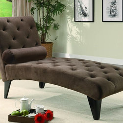 Stylish Seating - Chocolate Velour Microfiber Chaise