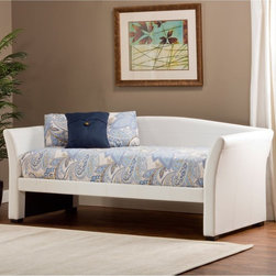 Hillsdale Furniture - Montgomery Daybed - White - HL3970 - Shop for Daybeds from Hayneedle.com! The sleek look of the Montgomery Daybed - White makes it perfect for small or guest bedrooms. The curved simple design easily acts as a sofa during the day while it makes a cozy and comfortable bed at night. The transitional shape features a clean white upholstery allowing it to blend seamlessly with your other pieces. No box spring is needed. An optional trundle allows for additional sleeping arrangements. Assembly required.About Hillsdale FurnitureLocated in Louisville Ky. Hillsdale Furniture is a leader in top-quality affordable bedroom furniture. Since 1994 Hillsdale has combined the talents of nationally recognized designers and globally accredited factories to bring you furniture styling and design from around the globe. Hillsdale combines the best in finishes materials and designs to bring both beauty and value with every piece. The combination of top-quality metal wood stone and leather has given Hillsdale the reputation for leading-edge styling and concepts.