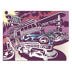 Custom Photo Factory - Cars Parked Outside of a 50's Style Diner Canvas Wall Art - Cars Parked Outside of a 50's Style Diner  Size: 20 Inches x 30 Inches . Ready to Hang on 1.5 Inch Thick Wooden Frame. 30 Day Money Back Guarantee. Made in America-Los Angeles, CA. High Quality, Archival Museum Grade Canvas. Will last 150 Plus Years Without Fading. High quality canvas art print using archival inks and museum grade canvas. Archival quality canvas print will last over 150 years without fading. Canvas reproduction comes in different sizes. Gallery-wrapped style: the entire print is wrapped around 1.5 inch thick wooden frame. We use the highest quality pine wood available. By purchasing this canvas art photo, you agree it's for personal use only and it's not for republication, re-transmission, reproduction or other use.