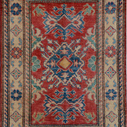 """ALRUG - Handmade Red Oriental Kazak Rug 2' 9"""" x 4' (ft) - This Afghan Kazak design rug is hand-knotted with Wool on Cotton."""