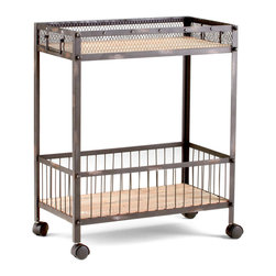 """Kathy Kuo Home - Industrial Loft Raw Steel Reclaimed Wood Iron Serving Bar Cart - Bridging the gap between the servants quarters in """"Gosford Park"""" and the offices of """"Citizen Kane"""", there's something cinematic and wonderful in the simple functionality of the Desmond cart.  Whether used in the kitchen/laundry room or in a home office, the industrial style delivers authentic charm in ample doses."""