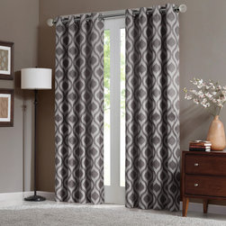 "Madison Park - Madison Park Verona Window Curtain - Uptdate your room with a stylish and modern Ogee window panel. The soft grey color adds a refreshing touch to the print, while the chenille jacquard fabric creates beautiful texture. Microfiber lining offers room darkening features and energy saving abilities. Grommet top detail makes it easier to hang, open, and close panels throughout the day. Fits up to 1.25"" diameter rod. 100% polyester chenille with micro fiber 75gsm linging, grommet top with lining."