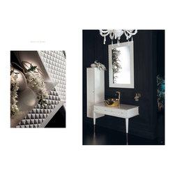 Topex Armadi Art Capitone - Topex Armadi Art Capitone, White Vanity, With Gold Vessel Sink. Vessel Sinks. Gold Vessel Sinks, White Bath Furniture, White bathroom vanities, Gold Sinks