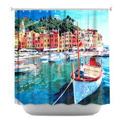 DiaNoche Designs - Shower Curtain Artistic - Portofino - DiaNoche Designs works with artists from around the world to bring unique, artistic products to decorate all aspects of your home.  Our designer Shower Curtains will be the talk of every guest to visit your bathroom!  Our Shower Curtains have Sewn reinforced holes for curtain rings, Shower Curtain Rings Not Included.  Dye Sublimation printing adheres the ink to the material for long life and durability. Machine Wash upon arrival for maximum softness on cold and dry low.  Printed in USA.