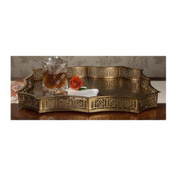 "Dessau Home - Scalloped Gallery Tray (Antique Silver) - Color: Antique SilverMade from brass. Antique brass color. Made in India. 23 in. L x 19.5 in. W x 2.5 in. HValue has always been an essential ingredient at Dessau Home. ""Essentials"" represents a collection of well-appointed yet affordable home furnishings with a unique traditional styling that appeals to most transitional and contemporary home decorating needs."