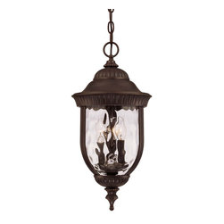 Savoy House - Savoy House Castlemain Outdoor Chain Hung Lighting Fixture in Walnut - Shown in picture: An incredibly versatile and economical group with clear watered Glass - available in a variety of sizes - plus post and hanging. Also available in Energy Star with Tuscan Glass. Walnut Patina Finish and Clear Hammered Glass