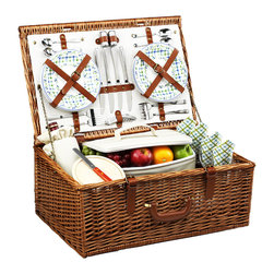 Picnic At Ascot - Dorset Picnic Basket for Four, Wicker W/Gazebo - The Dorset English style picnic basket for four is made to last with quality construction and stylish details. Beautifully hand crafted using full reed willow, each basket includes ceramic plates, glass wine glasses, and the highest quality accessories.  Includes: (4) ceramic plates, glass wine glasses, stainless flatware, cotton napkins, (1) food cooler, insulated wine pouch, hardwood cutting board, spill proof salt & pepper shakers, wood handle cheese knife, and stainless waiters corkscrew. Natural Willow with leather handle, closures, hinge covers. Lifetime Warranty.