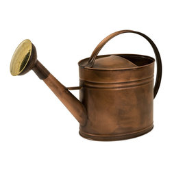 iMax - iMax Tauba Large Oval Copper Watering Can X-88044 - Antique look, water tight, copper pitcher features ribbed detail and handle that stretches from front to back