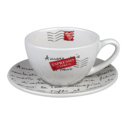 Konitz - S/4 Cappuccino Cups & Saucers - Enjoy relaxing at home while you sip a frothy cappuccino from this stylish cup and saucer set. The beautiful red, white, and black design adds a European flair to the high quality, porcelain duo.
