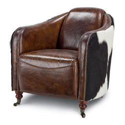 Kathy Kuo Home - Fink Rustic Brown Leather Hair Hide Upholstered Arm Chair - Git along, little dogies. Enjoy a playful twist on the classic leather club chair with this cowhide upholstered rendition. With the rich leather and the untamed feel of cowhide, this chair will easily transition from your borough to a rural estate.