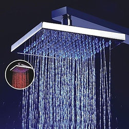 Shower Heads - 8 Inch Brass Shower Head with Color Changing LED Light-- FaucetSuperDeal.com