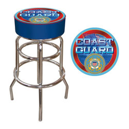 Trademark Global - Bar Stool w Padded Seat & United States Coast - Your home's design will easily reflect your patriotic spirit with the addition of this padded bar stool to your rec room or bar area decor. The stool featuring the officially sanctioned United States Coast Guard logo and has a chrome painted steel frame for added style. Adjustable levelers. Long lasting officially licensed NHL logo. Great for gifts and recreation decor. 7.50 in. High padded seat. 30 in. High bar stool great for bar pub table and bars. Commercial grade vinyl seat. Chrome plated double rung base. 14.75 in. W x 14.75 in. D x 30 in. H (17 lbs.)This USCG Bar Stool will be the highlight of your bar and game room.