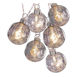 Clear Battery-Operated Silver Glass Ball String Lights, White Wire - Battery-powered mercury glass lights are such a fun way to accent a holiday vignette. String them across your mantel or breakfast hutch.
