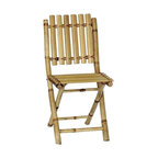 """Bamboo54 - Bamboo Folding Chairs - This chair is made from eco friendly bamboo and is perfect for when extra guest shows up for you luau or tropical adventure, or even to play bridge with! Light weight yet sturdy and folds for easy storage. Holds up to 225 lbs. The price shown is for a box of 2 chairs. Measures 34"""" H x 16.5"""" W x 13"""" D and 18"""" seat height."""