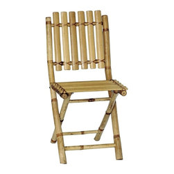 "Bamboo54 - Bamboo Folding Chairs - This chair is made from eco friendly bamboo and is perfect for when extra guest shows up for you luau or tropical adventure, or even to play bridge with! Light weight yet sturdy and folds for easy storage. Holds up to 225 lbs. The price shown is for a box of 2 chairs. Measures 34"" H x 16.5"" W x 13"" D and 18"" seat height."