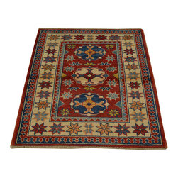 100% Wool Kazak Red Tribal Design Hand Knotted 3'x4' Oriental Rug SH16687 - This collections consists of well known classical southwestern designs like Kazaks, Serapis, Herizs, Mamluks, Kilims, and Bokaras. These tribal motifs are very popular down in the South and especially out west.