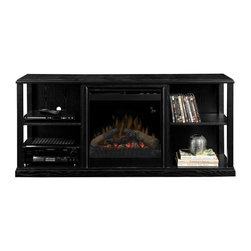 Dimplex - Dimplex Jayden Black Media Console with Electric Fireplace - DFP20-1342BA - Shop for Fire Places Wood Stoves and Hardware from Hayneedle.com! Create instant TV room ambience with the Dimplex Jayden Black Media Console with Electric Fireplace a beautifully designed storage piece featuring Dimplex's patented flame effect technology. Energy-efficient and emissions-free this plug-in fireplace complements its lifelike visuals with the glowing embers of LED logs molded from actual wood. A fan-forced heater makes things even cozier and is easily controlled with the included remote control and built-in display screen. The console offers plenty of space for media and electronics plus the contemporary style appeal of wood veneer and MDF in a versatile black finish.About DimplexDimplex North America Limited is the world leader in electric heating offering a wide range of residential commercial and industrial products. The company's commitment to innovation has fostered outstanding product development and design excellence. Recent innovations include the patented electric flame technology - the company made history in the fireplace industry when it developed and produced the first electric fireplace with a truly realistic wood burning flame effect in 1995. The company has since been granted 87 patents covering various areas of electric flame technology and 37 more are pending. Dimplex is a green choice because its products do not produce carbon monoxide or emissions.