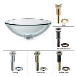 Kraus - Kraus Clear 19mm thick Glass Vessel Sink with PU-MR Satin Nickel - *Fashionable bathroom sink is the perfect harmony of elegance and style