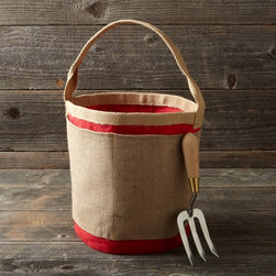 Gardener's Pail - Catch weeds or harvest the first crops in this jute and canvas pail. It's pretty and durable, and it doesn't have holes that let your goods fall through.