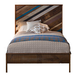 Urban Evolutions - Reclaimed Bias Bed, Queen - Prettiest textures we could gather are assembled on the bias into this boldly reclaimed headboard. We've stacked assorted materials diagonally to hint at their varying depths, then framed them with varnished bleachers.