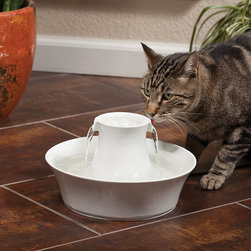Frontgate - Avalon Ceramic Pet Fountain - White - 70 oz. capacity. Replaceable charcoal filter removes bad taste and odors, keeping water fresh. Porcelain design is hygienic and easy to clean. Upper and lower drinking areas for pets. Low-voltage 12V system with submersible pump for safe and quiet operation. Hydration is important for animals' health. Encourage your pets to drink more water with the Avalon Ceramic Pet Fountain. Offering 70 oz. of fresh, filtered water, the fountain complements your decor – and is simple to keep clean. Dual free-falling streams add oxygen for freshness, while upper and lower dishes provide two convenient drinking areas for your feline and canine companions.. . . . .
