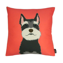 Shnauzer! 18X18 Pillow - 100% polyester cover and fill.  Backed with plush faux fur material.  Made in USA.  Spot clean only