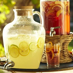 Jug Drink Dispenser | Pottery Barn - Lots of drink dispensers out there but particular like this jug drink dispenser with the cork top!