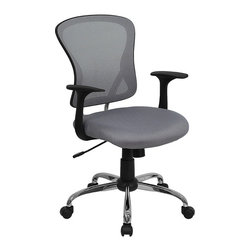 Flash Furniture - Mid-back Mesh Office Chair With Chrome Finished Base - Sporting a contemporary look and ergonomic design, this mesh covered office chair from Flash Furniture is perfect for any office setting, but is economically priced to be affordable for most home office users. Featuring an open mesh back with passive lumbar support, a thickly padded mesh covered seat, and a chrome finished base, this chair is sure to be an attractive and comfortable addition to any setting.