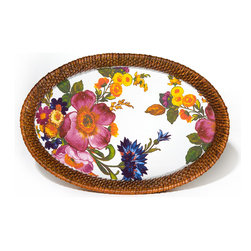 Flower Market Rattan & Enamel Tray- White Small | MacKenzie Childs - The only thing breezier than a cool cocktail on the screened porch as the summer sun sets, is one served on one of our Flower Market Rattan & Enamel Trays. Color glazed in black, blue, green or white, each Flower Market Rattan & Enamel Tray is decorated with hand-applied fanciful botanical transfers that recall a lush English garden in the peak of summer. Artfully arranged, this entertaining tray is perfect for year-round use, indoors and out.