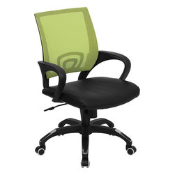 Flash Furniture - Mid-Back Green Mesh Computer Chair with Black Leather Seat - For a contemporary and stylish mesh computer chair for your home or office there's no need to look any further. This ergonomic task chair with mesh back from Flash Furniture will provide a comfortable and functional addition to any setting. Featuring a cool mesh back, leather seat, and a designer base, this computer chair will provide all the necessities for a home or office desk chair with a few extra features.