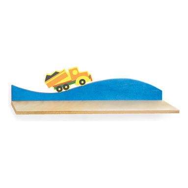 Boys Like Trucks Wall Shelf - A colorful dump truck drives on this birch veneer wall shelf, ideal for hanging over the desk or changing table/dresser.