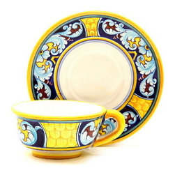 Artistica - Hand Made in Italy - Celeste: Tea/Coffee Cup and Saucer - Celeste Collection: Undoubtedly the most sophisticated dinnerware patter in this new catalog, featuring rich colors and intricate details to create a vibrant and modern interpretation of Renaissance designs that will make your dinner table come alive!
