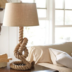 Rope Table Lamp - This eye-catching table lamp makes a bold statement and would be perfect in a boys room or home office.