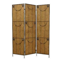 Lone Star Screen - Bring Western attitude to your decor. This handsome three-panel screen lets you create a sense of intimacy in any open area.