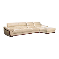 VIG Furniture - 2109 Beige Top Grain Leather Sectional Sofa With Wood Trim - The 2109 sectional sofa will be a great addition to any living room decor that need's a touch of modern design. This sectional comes upholstered in a beautiful beige top grain leather in the front where your body touches. Skillfully chosen match material is used on the back and sides where contact is minimal. High density foam is placed within the cushions for added comfort. The sectional features a dark wood trim along the bottom of the sectional that adds to the overall look.