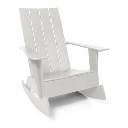 Loll Designs - 4 Slat Flat Standard Adirondack Rocker, Cloud White - Now you can gently rock the day away in this updated Adirondack chair. Whether you're on a seaside porch or a backyard deck, nothing says carefree living like this chic rocker.